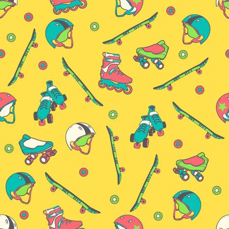 inline skating: roller skate seamless pattern