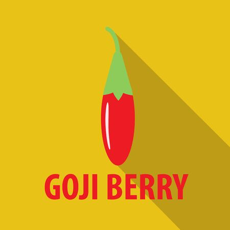 fruitage: goji berry icon in flat design with long shadows
