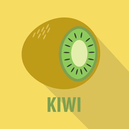 fruitage: kiwi icon in flat design with long shadows Illustration