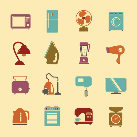 tumble: set of household appliances flat icons with a washing machine stove fridge lamp kettle hairdryer mixer coffee machine iron weigher fan monitor microwave vacuum cleaner and toaster Illustration