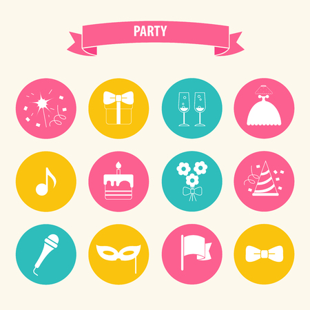 celebration party: Party and Celebration icon set.Vector silhouette illustration Illustration
