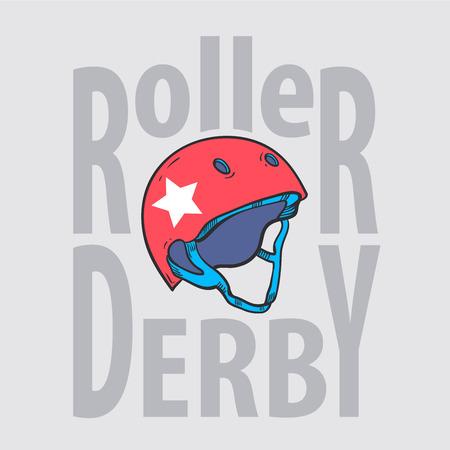 casters: Roller derby helmet typography, t-shirt graphics, vectors