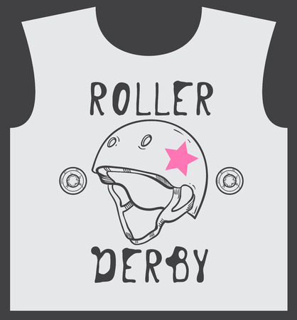 roller skate: Roller skate and roller derby graphic design for t-shirt
