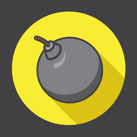 pelota caricatura: Vector icono de bomba con una larga sombra