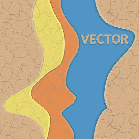 cracked earth: Vector cracked earth texture and water