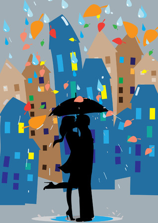 couple dating: loving couple in the rain Illustration