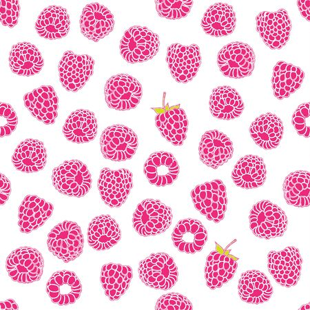 drupe: seamless pattern of delicious ripe raspberries