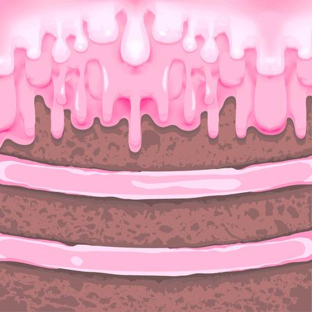 porcion de pastel: Pedazo de pastel de chocolate con crema Vectores