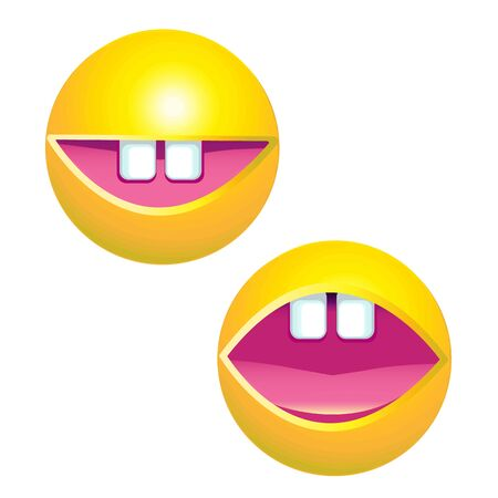toothy smile: yellow smiley face with big toothy smile