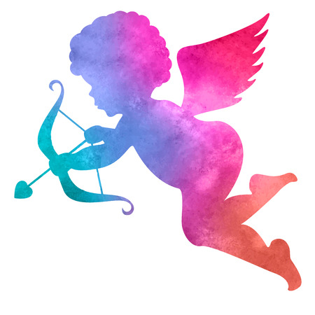 watercolor silhouette of an angel.watercolor painting on white background Vettoriali