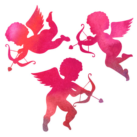 christmas angels: watercolor silhouette of an angel.watercolor painting on white background Illustration
