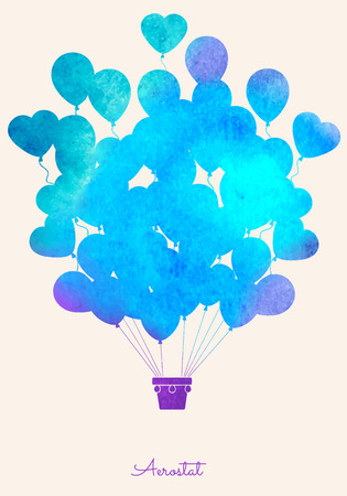 blue party: Watercolor vintage hot air balloon.Celebration festive background with balloons.Perfect for invitations,posters and cards