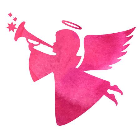 Acquerello silhouette di una pittura angel.watercolor su sfondo bianco Archivio Fotografico - 44232364