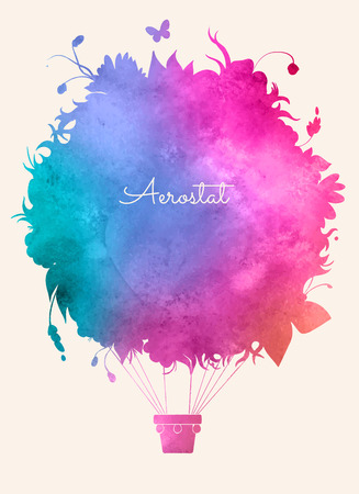 Watercolor vintage hot air balloon.Celebration festive background.Perfect for invitations,posters and cards
