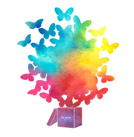 Open cardboard box with colorful butterflies flying.Gift-butterfly Vettoriali