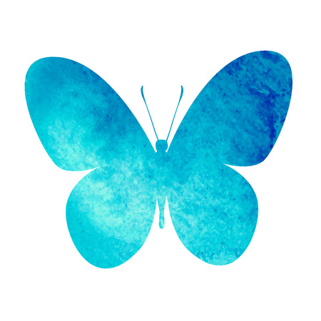 aquarel: colorful blue watercolor butterfly