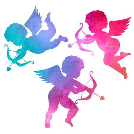 白い背景の上の angel.watercolor 絵の水彩のシルエット