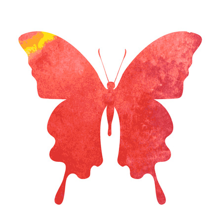 aquarel: colorful red-yellow watercolor butterfly