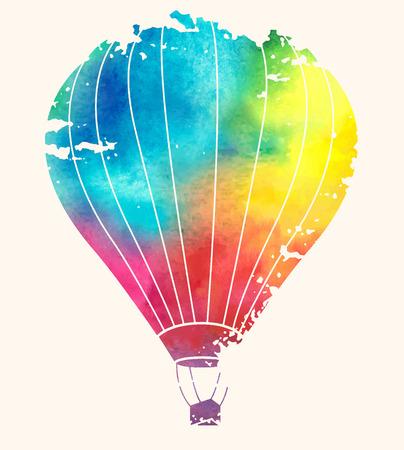 globo: Globo de aire caliente de la vendimia de la acuarela