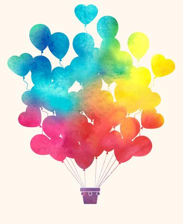 浪漫: 水彩的復古熱氣球
