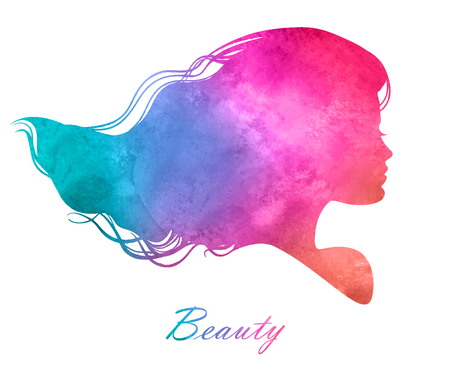 lady shopping: Silhouette head with watercolor hair Illustration