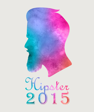 Retro colorful watercolor label badge or logo Hipster 2015 with beard