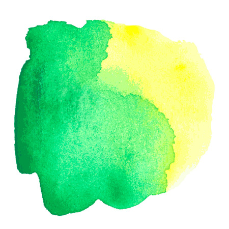 aquarel: colorful green-yellow watercolor stain with aquarelle paint blotch Illustration