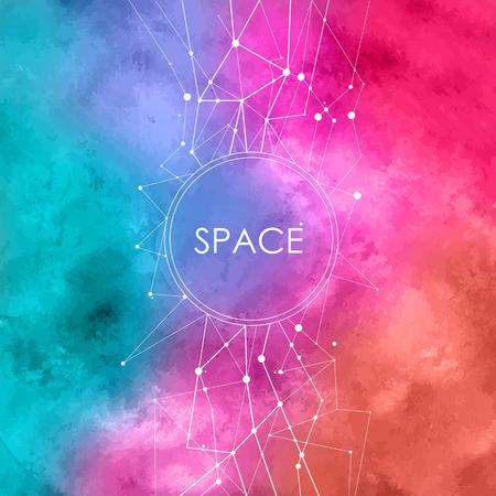 공간 배경에 연결 점이있는 추상 수채화 그림
