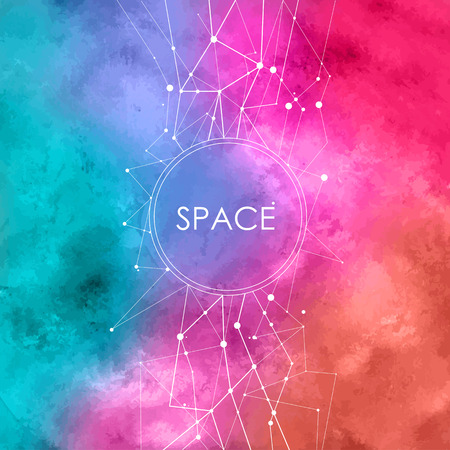 Abstract Watercolor Illustration with connecting dots on space background Çizim