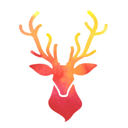 tete de cerf: t�te aquarelle cerfs Illustration