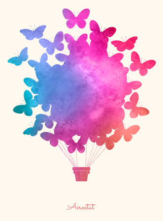 globos de cumplea�os: Mariposa de la acuarela de la vendimia balloon.Celebration aire caliente Fondo festivo con balloons.Perfect para las invitaciones, carteles y tarjetas