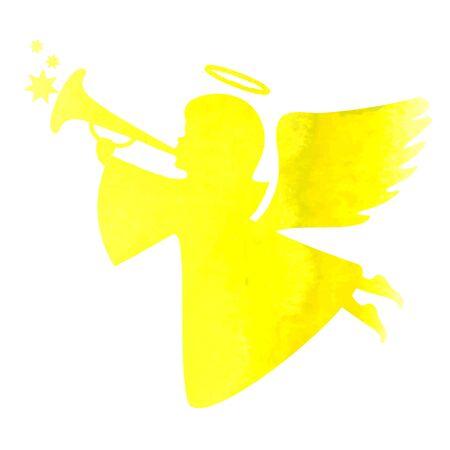 navidad elegante: silueta de la acuarela de un ángel