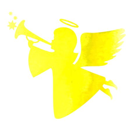 elegant christmas: watercolor silhouette of an angel Illustration