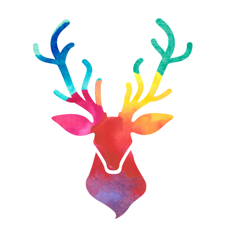 wild venison: watercolor colorful deer head Illustration