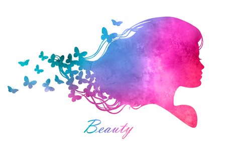 stylized: Silhouette head with watercolor hair.Vector illustration of woman beauty salon