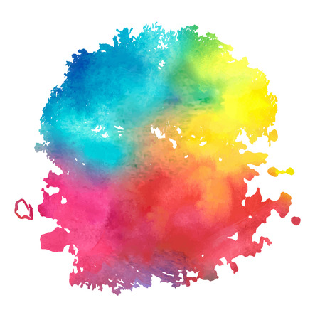 colorful watercolor stain with aquarelle paint blotch 向量圖像