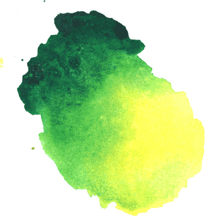 colorful green-yellow watercolor stain with aquarelle paint blotch Illustration