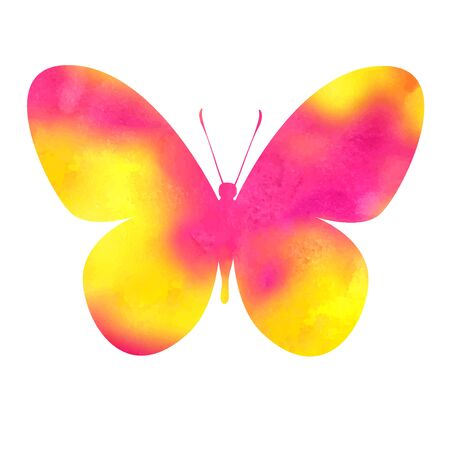 aquarel: colorful pink-red watercolor butterfly Illustration
