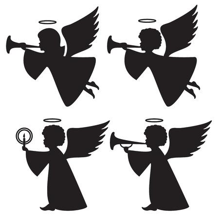 天使のシルエット  イラスト・ベクター素材