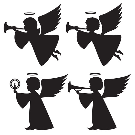 silhouettes of angels