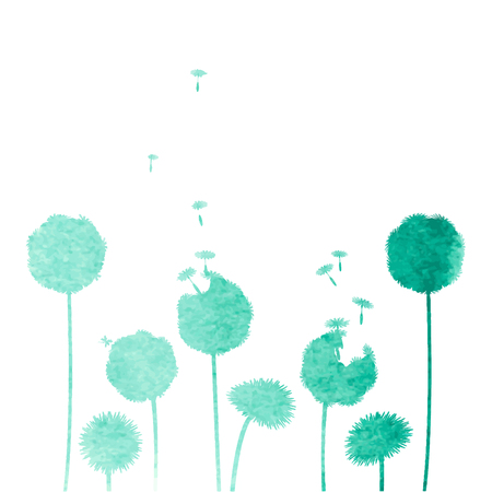 flowers fluffy: watercolor dandelion background Illustration
