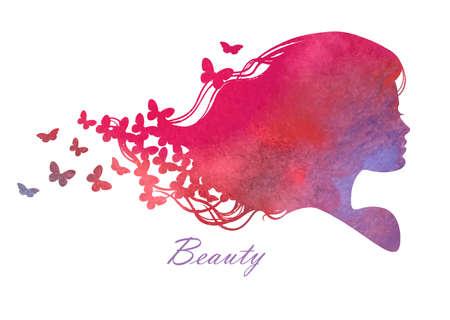 donna farfalla: Testa silhouette con illustrazione acquarello hair.Vector di donna salone di bellezza
