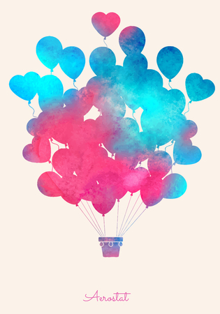 birthday cards: Watercolor vintage hot air balloon.Celebration festive background with balloons.Perfect for invitations,posters and cards