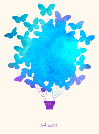 Watercolor vintage butterfly hot air balloon.Celebration festive background with balloons.Perfect for invitations,posters and cards Ilustrace