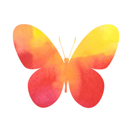 blemish: colorful red-yellow watercolor butterfly