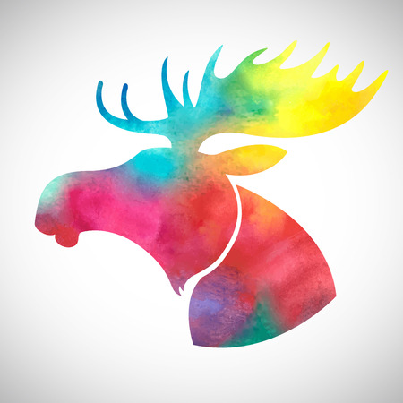 Moose head.Watercolor silhouette