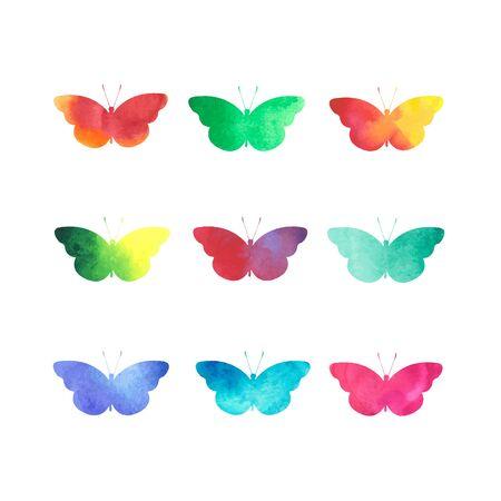 papillon dessin: papillons aquarelle set détourés sur blanc