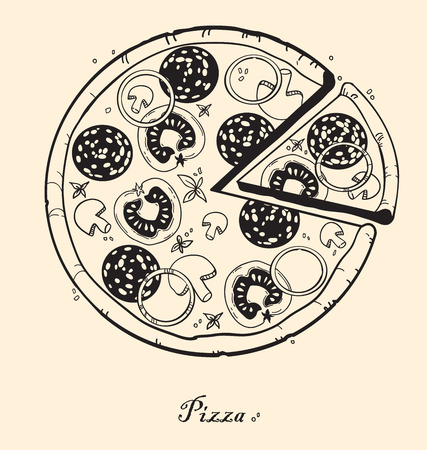 sliced: Hand-drawn pizza with ingredients: sausage, tomato, cheese, mushrooms, herbs, onions Illustration