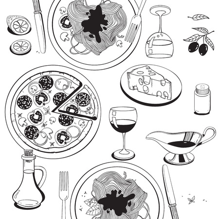 melted cheese: Hand drawn objects on italian food theme: pizza, pasta, tomato, olive oil, olives, cheese, lemon, sauce. Ethnic cuisine concept. Italian cuisine hand drawn objects. food illustration for kitchen and cafe