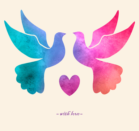 Watercolor colorful  bird. Watercolor painting.Two pigeons love silhouettes Vettoriali